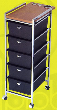 Pibbs Metal Frame 5 Drawer Cart w/ Accessory Topper 19-D29